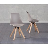 Product photograph showing Oscar Mink Faux Leather Square Leg Dining Chairs