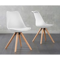 Product photograph showing Oscar White Faux Leather Round Leg Dining Chairs