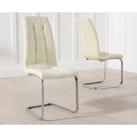 Product photograph showing Lorin Cream Faux Leather Dining Chairs