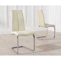 Product photograph showing Tarin Cream Faux Leather Dining Chairs