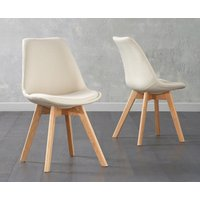 Product photograph showing Duke Cream Fabric Dining Chairs