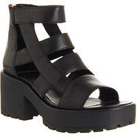 Vagabond Dioon Back Zip Sandals BLACK LEATHER ROSE GOLD ZIP