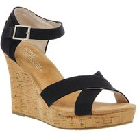 shop for Toms Strappy Wedge BLACK CANVAS at Shopo
