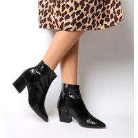 shop for Office Aubergine- Curved Heel Ankle Boot BLACK LEATHER at Shopo
