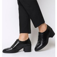 Office Maybelle- Brogue Block Heel Shoe BLACK LEATHER