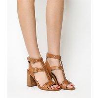 shop for Office Arizona Stud Detail Flare Heel Sandal TAN LEATHER at Shopo