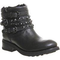 Ash Tatum Biker Boots Black Nappa Destroyer Leather