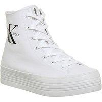 Calvin Klein Zabrina Hi Top Flatform Trainers WHITE CANVAS