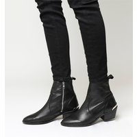 Office Leighton Unlined Western Boots BLACK LEATHER WITH SILVER HARDWARE