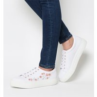 Office Flare Lace Up With Embroidery WHITE WITH PINK EMBROIDERY