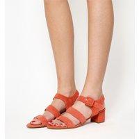 Office Marbles Three Strap Block Heel Sandal CORAL SUEDE