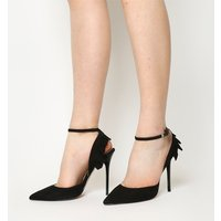 Office Houston Ruffle Back Point Court BLACK SUEDE