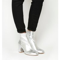 Office Applause- Block Heel Boot SILVER LEATHER