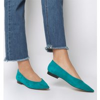 Office Fleur- Pointed Flat GREEN SUEDE