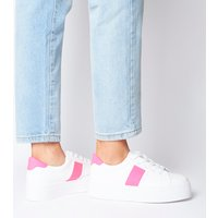 Office Feature Platform Lace Up Trainer WHITE WITH NEON PINK