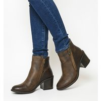 Office Archway- Mid Side Zip Boot BROWN LEATHER