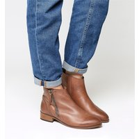 Office Accent- Side Zip Boot TAN LEATHER