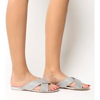 Office Show Off- Crystal Cross Strap Sandal SILVER