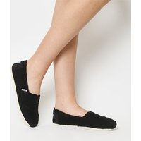 Toms Seasonal Classic Slip On BLACK CABLE KNIT SHEARLING