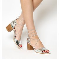Office Modernist Ghillie Block Heel Sandal SILVER MIRROR