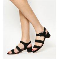 Office Marbles Three Strap Block Heel Sandal BLACK SUEDE