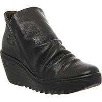 shop for Fly London Yip Wedge Ankle Boot BLACK LEATHER at Shopo