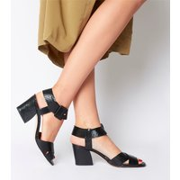 Office Marrow Cross Vamp Sandal BLACK SNAKE