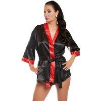 Kimono mit Bindegürtel, schwarz/rot