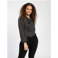 Pentlebay Womens Tie Neck Blouse (Black Polka Dot, Size 16)