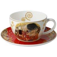 Goebel Gustav Klimt Xmas Teetasse / Cappuccinotasse 0,25 L mit Untertasse 15 cm - Der Kuss Rot 2-tlg.