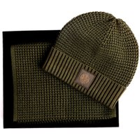 Waffle Scarf And Beanie Gift Set (Khaki, One Size, Hats)