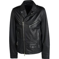 Zip through Leather Biker Jacket (Black, XS, Jackets)