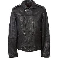 Zipthrough Leather Biker Jacket (Black, XL, Jackets)