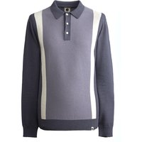Long Sleeve Contrast Stripe Knit (Grey, XXL, Polos)