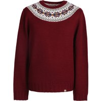 Pattern Crew Knitted Jumper (Red, XS, Crew Neck)