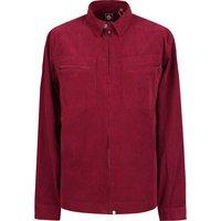 Zip Through Fine Cord Overshirt (Burgundy, L, Overshirt)
