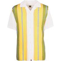 Short Sleeve Striped Shirt (White, XL, Stripe)