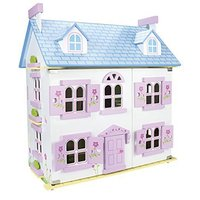 Leomark White Wooden Dolls House with Lights, Furniture and Dolls