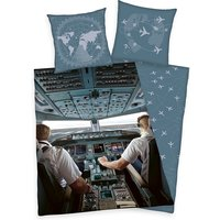 Airplane Pilot Single Cotton Duvet Cover and Pillowcase Set