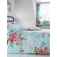 Alice Floral King Size Duvet Cover and Pillowcase Set - Turquoise and