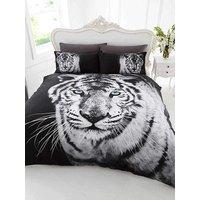 3D White Tiger Single Duvet Cover and Pillowcase Set