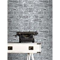 'Silver Black Brick Effect Wallpaper - 262932 Windsor Wallcoverings