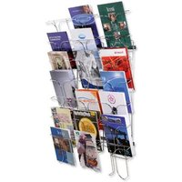 Wall Mounted Literature Holder Chrome with 7 Pocket