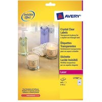 Avery L7780-25 Crystal Clear Round Labels (40mm Diameter) Clear (Pack of 600 labels)