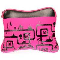 Pink Foam Laptop / Notebook Bag With Fun Black Print Design Up to 15.4 Inch Laptops