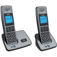 BT 2000 DECT Cordless Telephone Backlit Display Speaker Twin-Pack (Silver/Black)