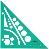 Linex 5-In-1 Easy-Draw Drawing Aid Ruler Set Square Protractor Compass (Tinted Green) - Single