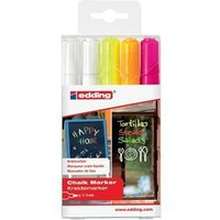 Edding 4090 Chalk Markers Chisel Tip (Assorted Colours: 2 x White/Neon Yellow/Neon Orange/Neon Pink) Pack of 5