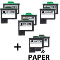 5 x Black Lexmark 16 and 3 x Colour Lexmark 26 (Remanufactured) + 1 Free Paper