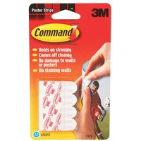 3M Command Adhesive Poster Strips Clean-removing Holding Capacity 0.45kg White (Pack of 12)